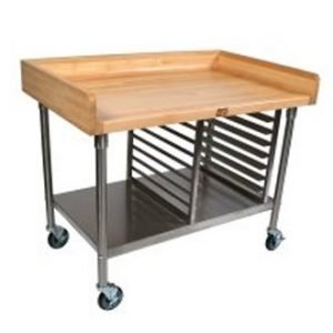 restaurant equipment and supply John Boos Maple Top Work Tables with 4″ Coved Riser
