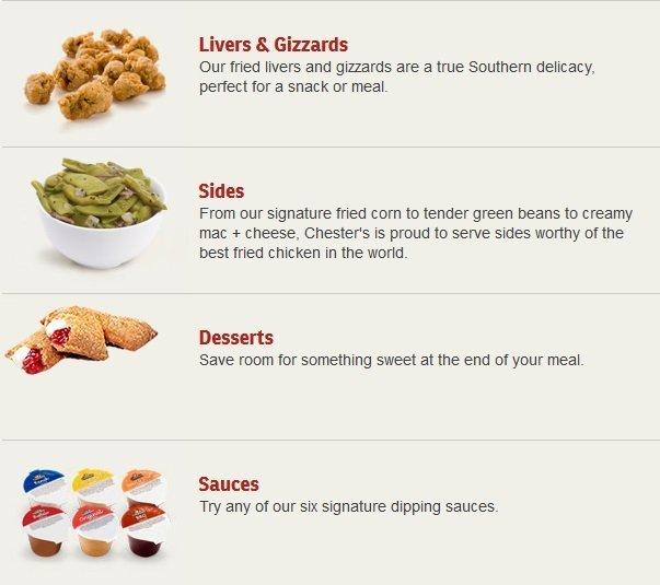 chester's chicken menu